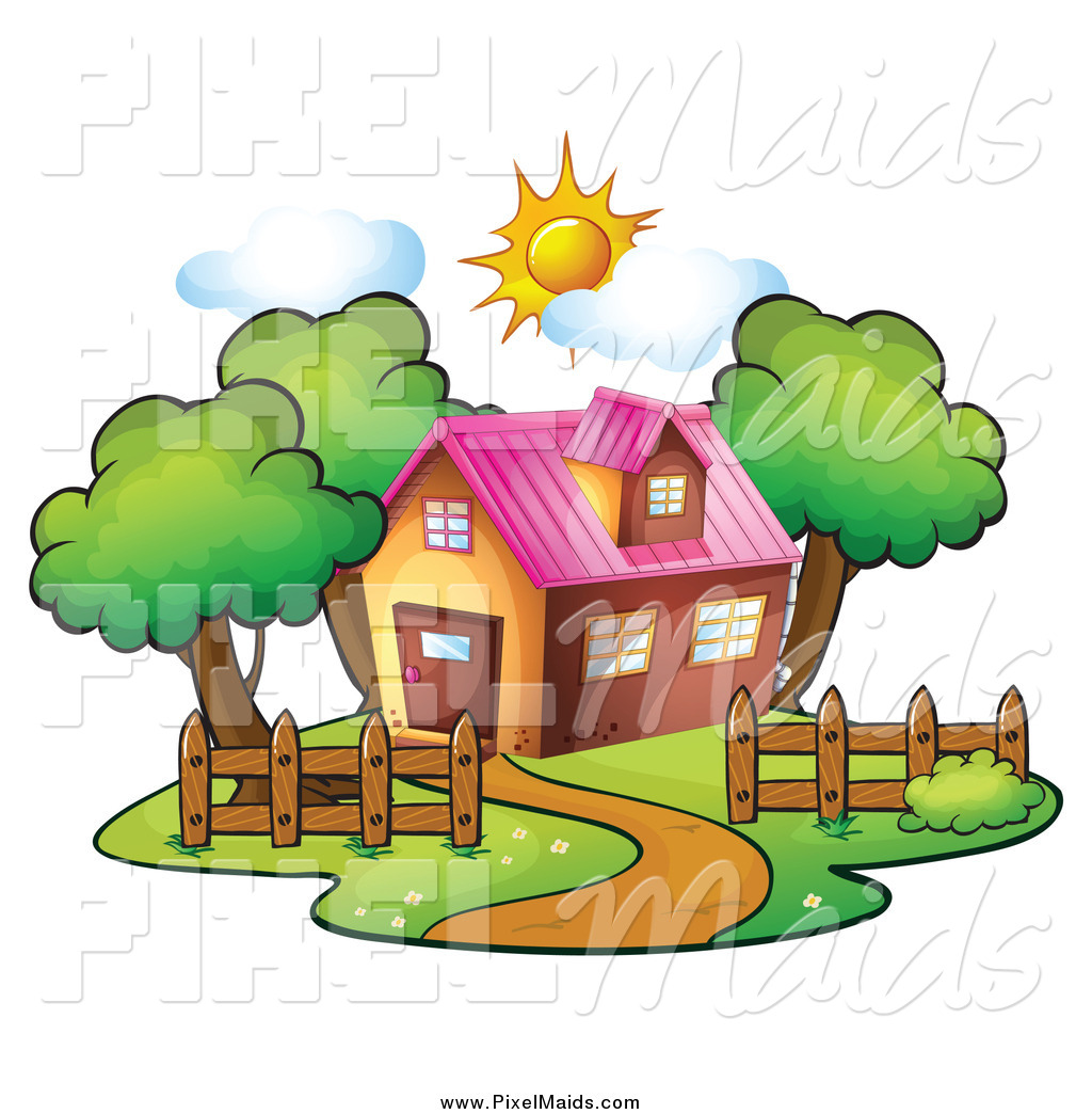 1024x1044 Clipart Of A Residential House On A Sunny Day By Graphics Rf