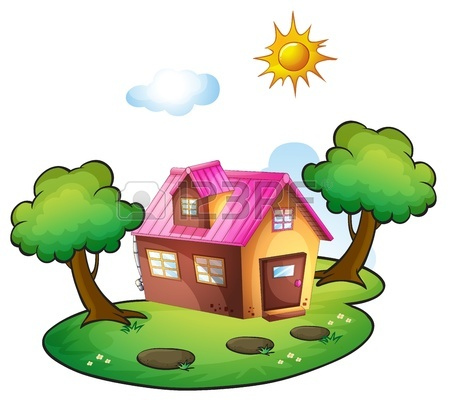 450x400 Illustration Of A House In A Beautiful Nature Royalty Free