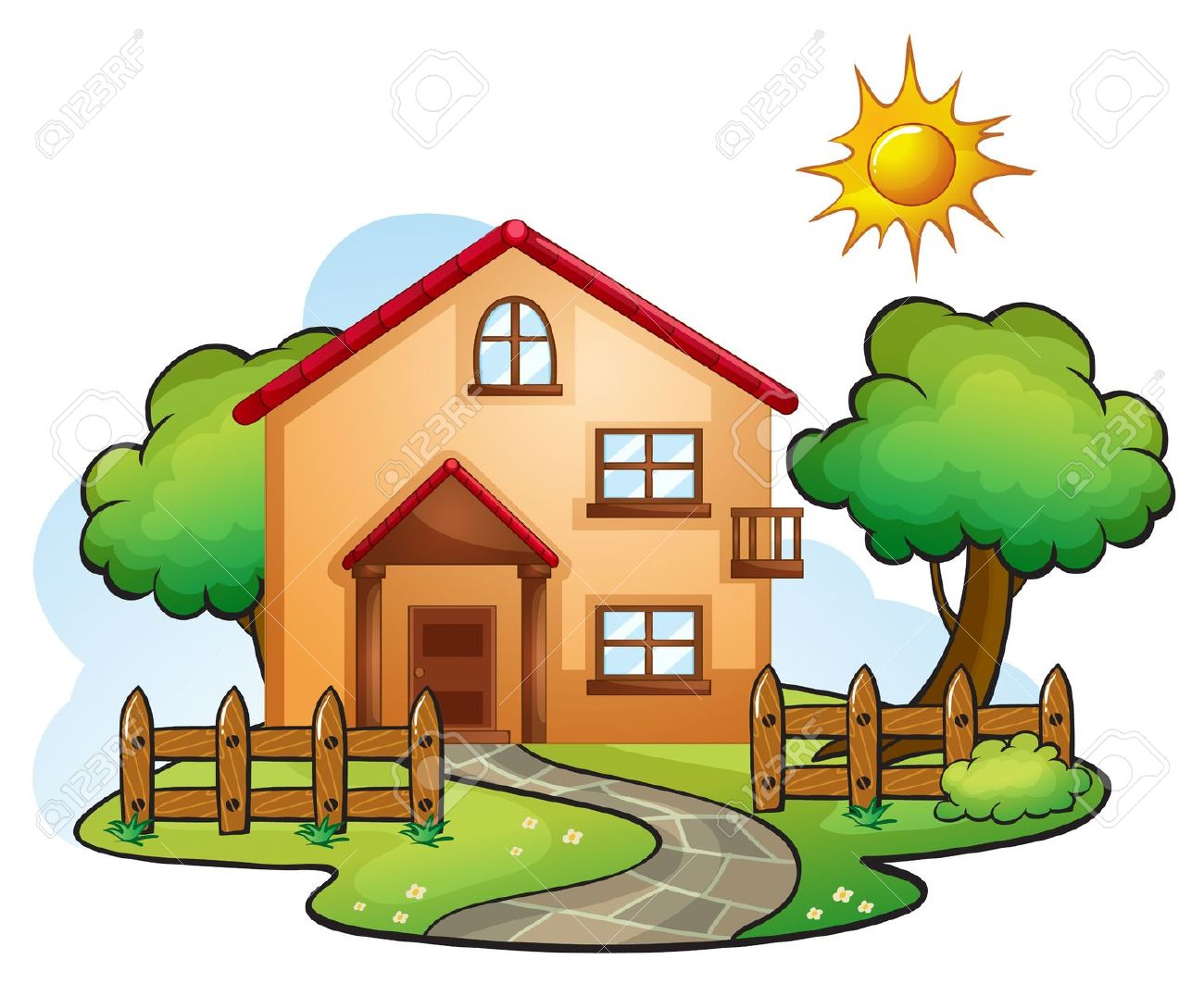 1300x1063 Scenery Clipart Beautiful House