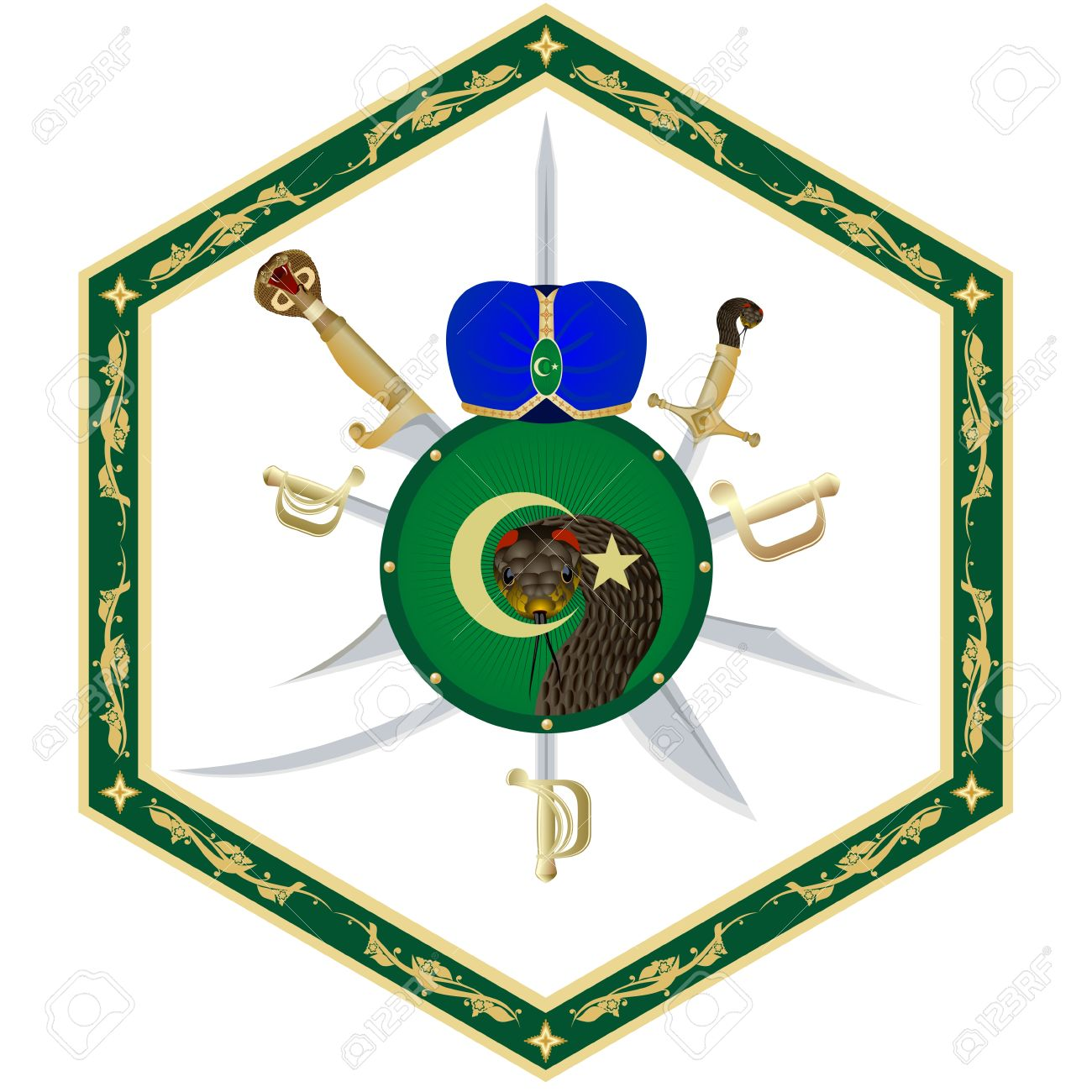 1300x1300 Muslim Head Covering, Shield And Weapons In An Abstract Frame