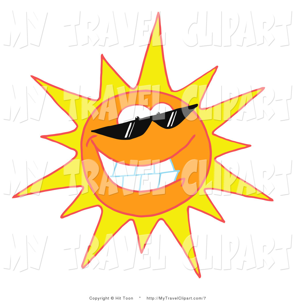 1024x1044 Clipart Of A Sun Wearing Shades By Hit Toon