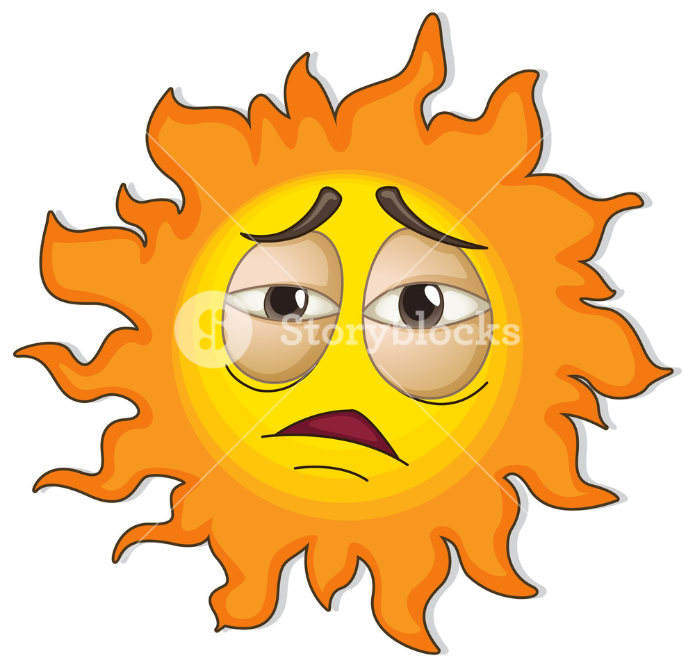 1000x960 Illustration Of A Sun With A Face On A White Background Royalty