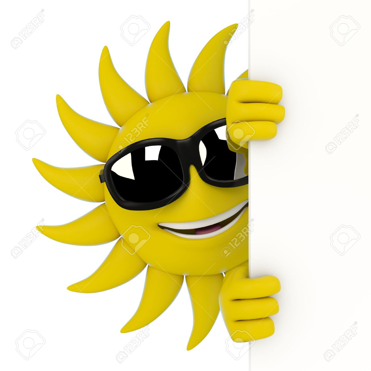 1300x1300 3d Render Illustration Of A Sun Character Hiding Behind A Wall