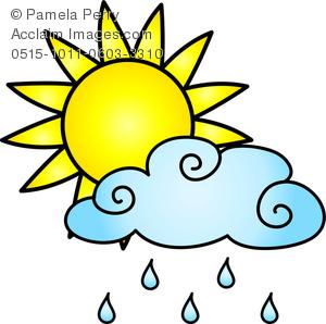300x298 Clip Art Image Of A Sun With A Rain Cloud