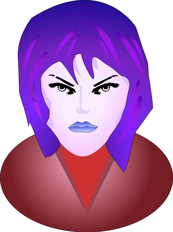 600x802 Mad Face Woman Angry Face Vector Clip Art