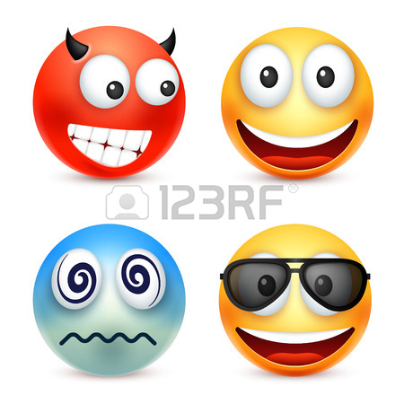 450x450 Smiley,emoticon Set. Yellow Face With Emotions. Facial Expression