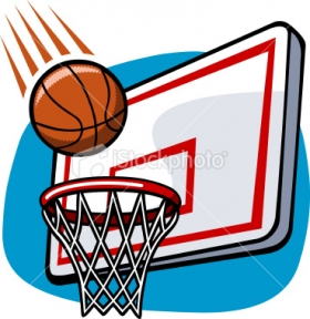 280x288 Basketball In Hoop Clipart