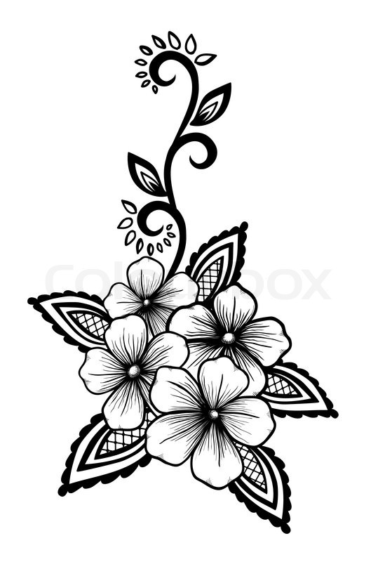 549x800 Beautiful Floral Element. Black And White Flowers And Leaves