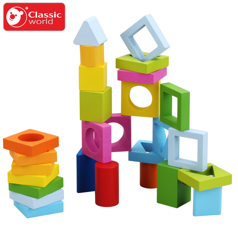 800x800 Classic World Wooden Geometric Blocks Educational Rotary Building
