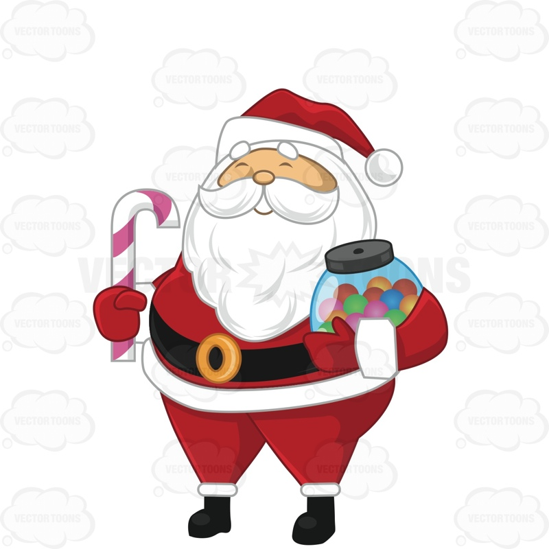 800x800 Santa Claus Carrying A Candy Cane And A Jar Of Candy Cartoon