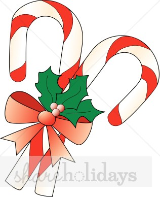 316x388 Candy Canes With Bow And Holly Candy Cane Clipart