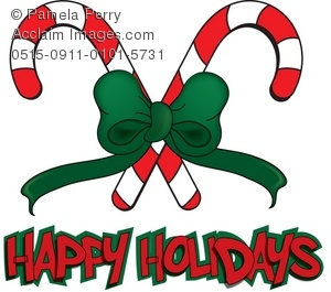 300x265 Art Illustration Of Candy Canes With Happy Holidays Message