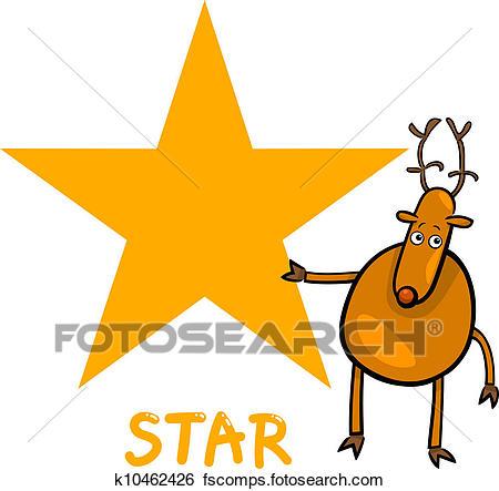 450x443 Clip Art Of Star Shape With Cartoon Deer K10462426