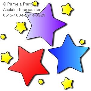 300x298 Art Image Of Brightly Colored Cartoon Stars