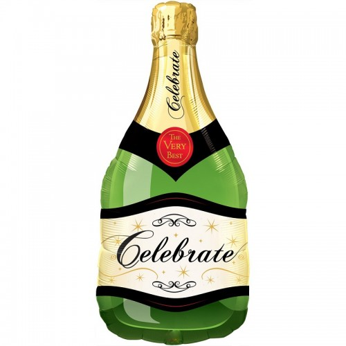 500x500 Champagne Bottle Supershape Foil Balloon