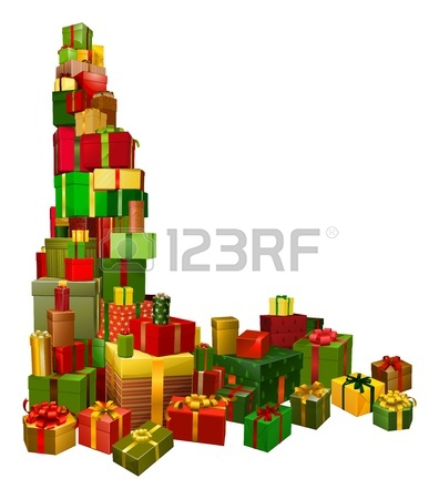 396x450 Pile Of Presents Or Gifts Stacked In The Shape Of A Christmas