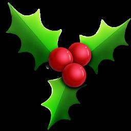 256x256 Christmas Holly Clipart