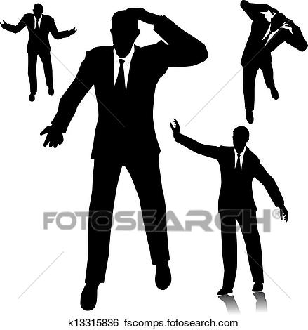 439x470 Clip Art Of Confused Businessman Silhouette K13315836