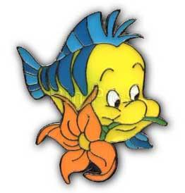 262x274 Disney Little Mermaid Flounder Fish W Flower Pinpins