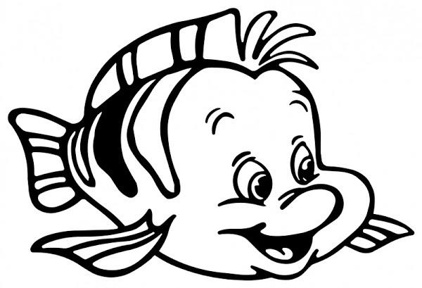 600x409 Flounder From The Little Mermaid Coloring Pages