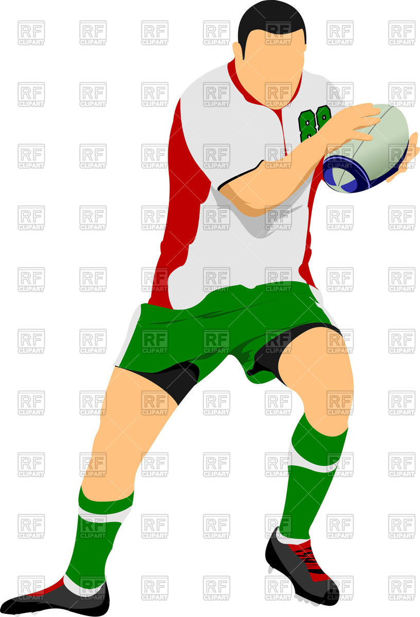 816x1200 Silhouette Of Rugby Football Player In Action Royalty Free Vector