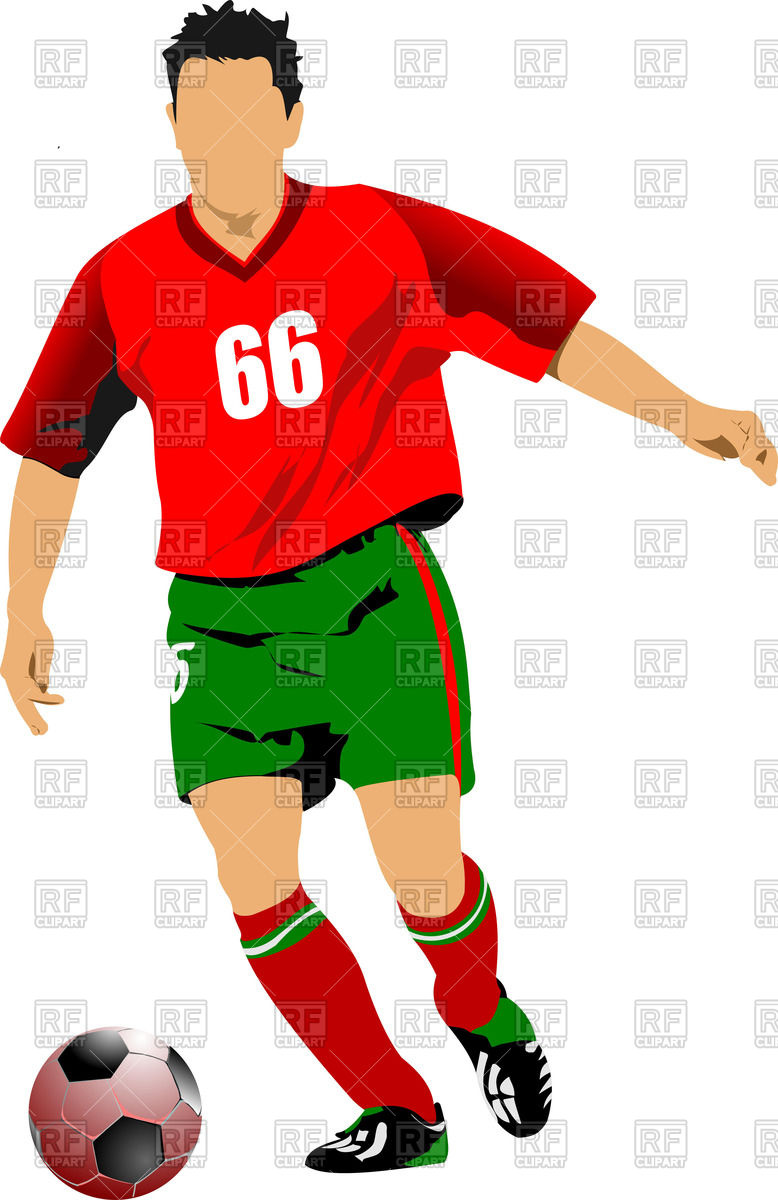 778x1200 Soccer (Football) Player Whith Ball Front View Royalty Free Vector