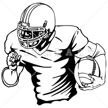 361x361 Sports Clipart Image Of Black White Football Player Graphic