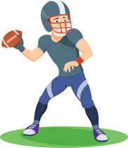 182x210 Clipart Of A Football Player