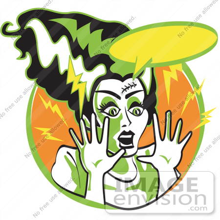 450x450 Royalty Free Cartoon Clip Art Of The Bride Of Frankenstein