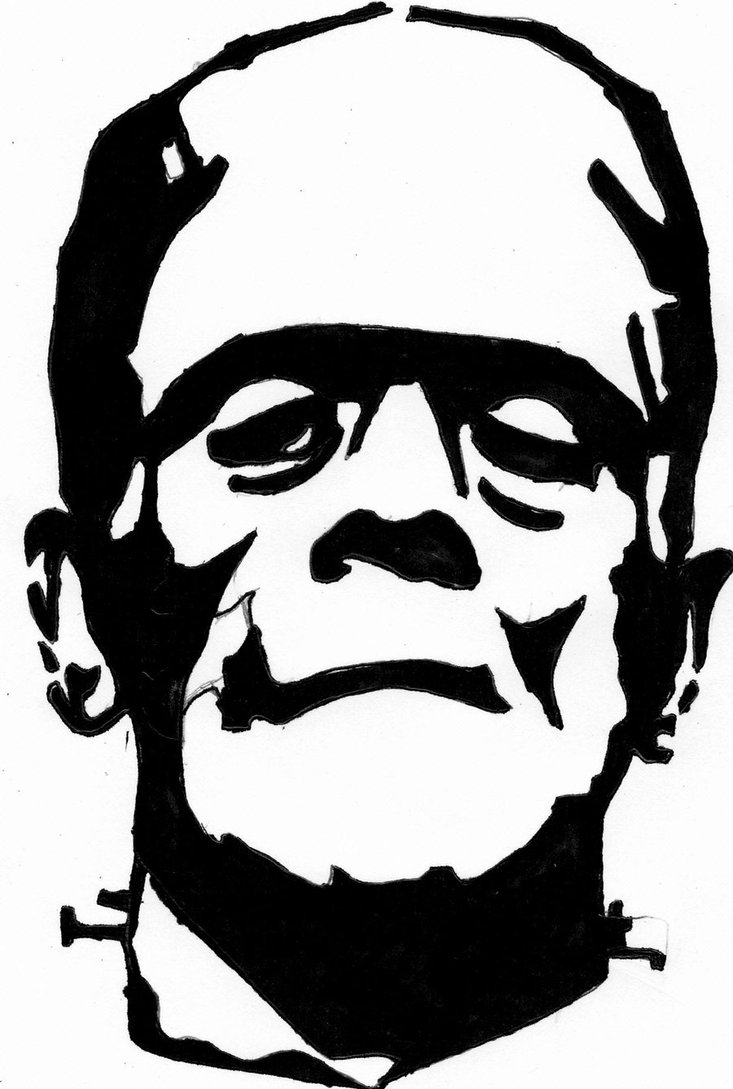733x1089 Dracula Silhouette Frankenstein Outline Drawing Frankenstein