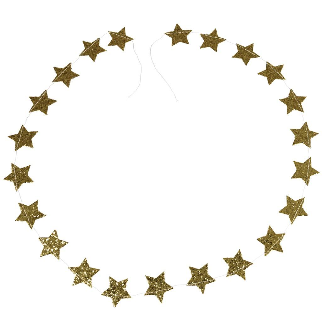 1024x1024 Gold Stars Christmas Garland Dotcomgiftshop