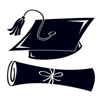 350x350 Black Graduation Cap And Scroll Temporary Tattoo