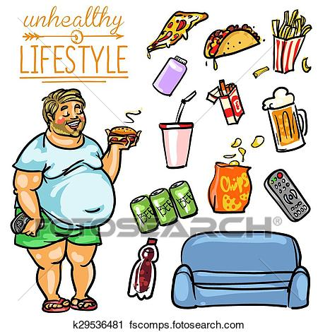 450x470 Clipart Of Healthy Lifestyle Vs Unhealthy Lifestyle. K29232214