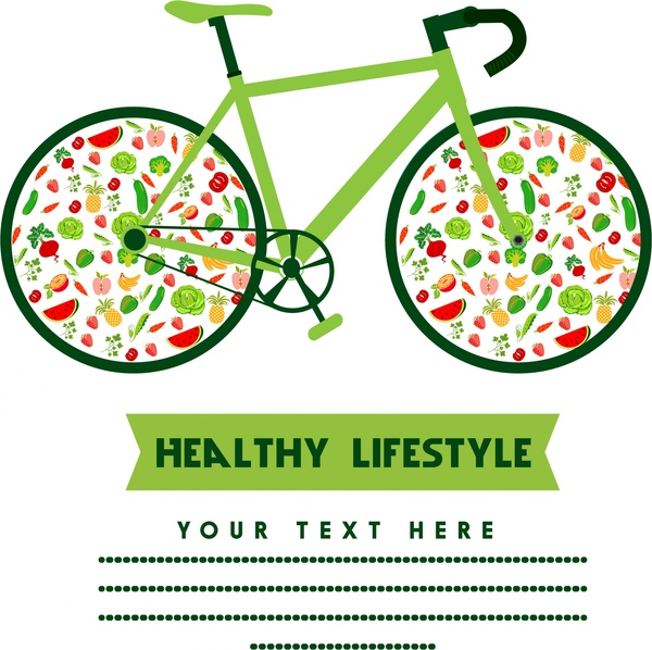 600x598 Healthy Lifestyle Concept Bicycle Design With Fruit Icons Free