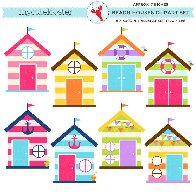 670x670 Beach Houses Clipart Set