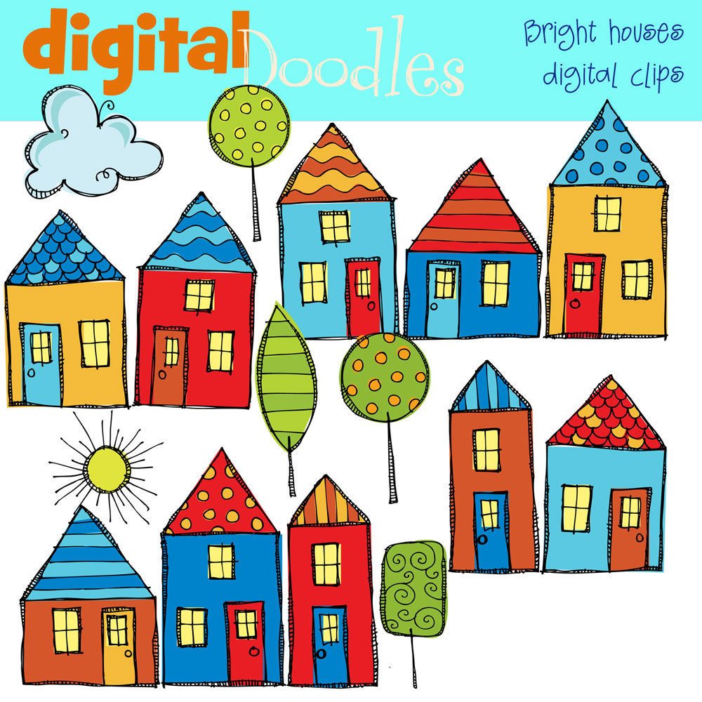 1000x1000 Clip Art Of Homes In A Row Clipart