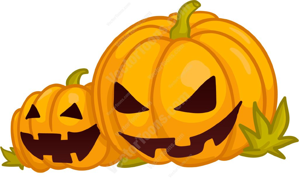1024x621 Two Jack O Lanterns Cartoon Clipart