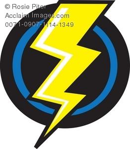 262x300 Yellow Lightning Bolt On A Black Background Royalty Free Clip Art