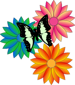 264x300 May Butterfly And Flowers Clip Art
