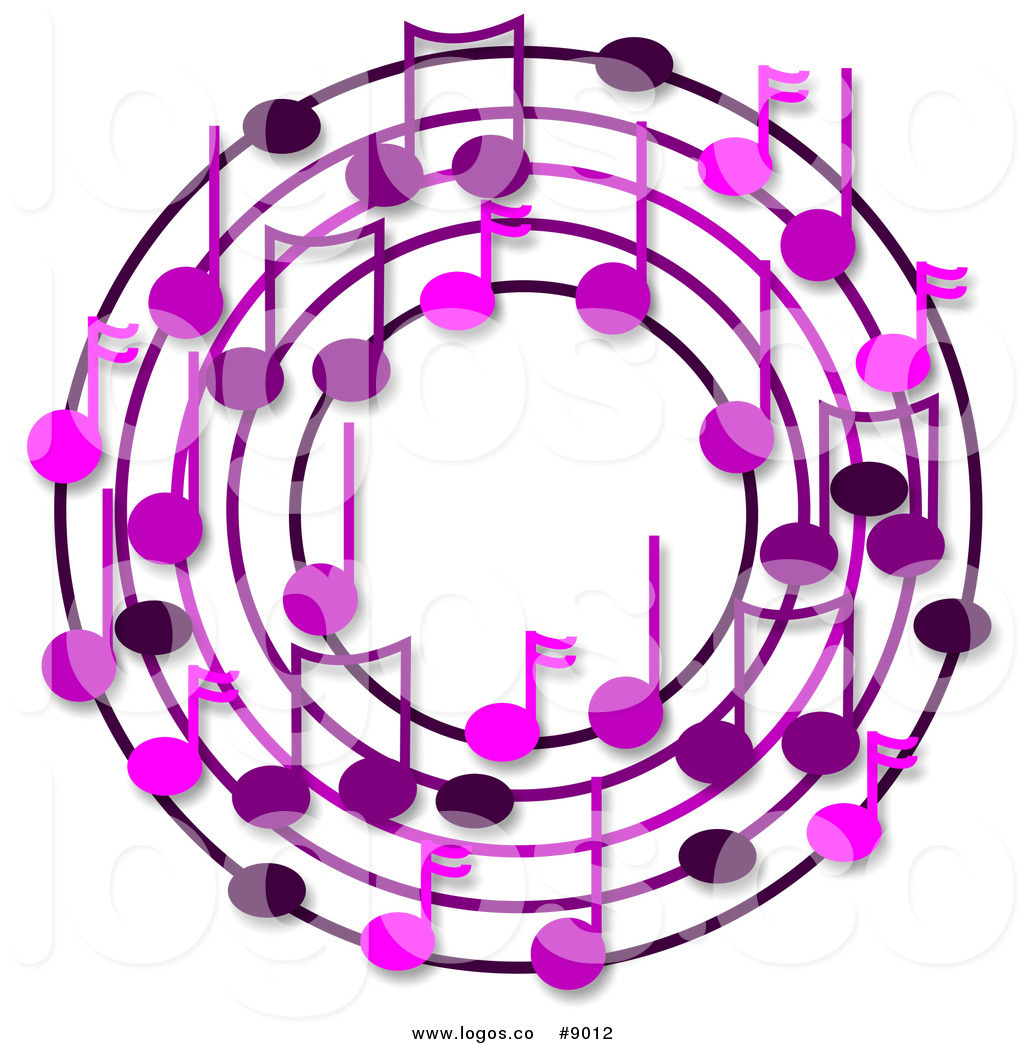 1024x1044 Royalty Free Clip Art Logo Of A Wreath Of Purple Music Notes