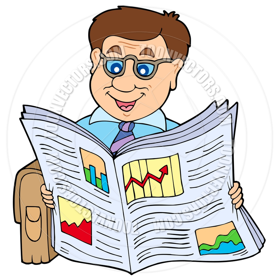 940x940 Cartoon Businessman Reading Newspaper By Clairev Toon Vectors