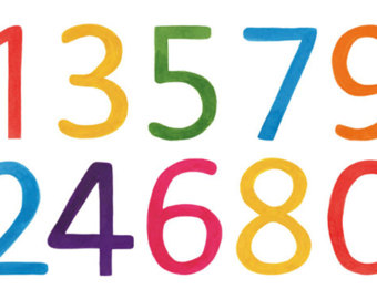 340x270 Watercolor Numbers Etsy