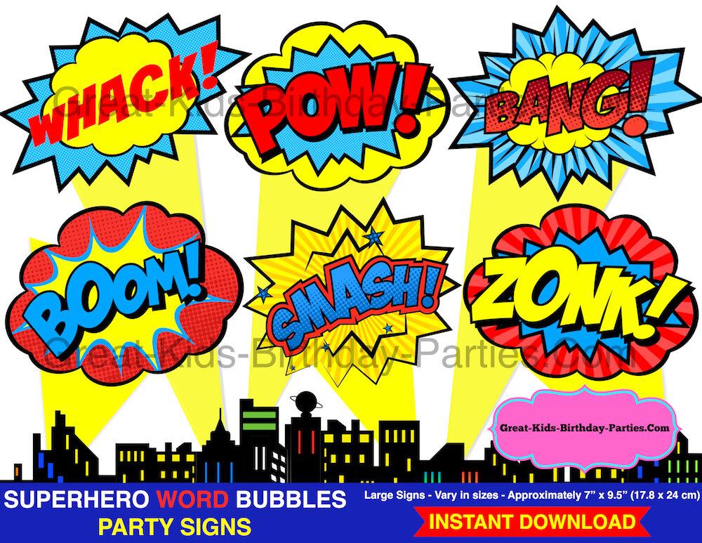 1000x773 Superhero Word Bubbles