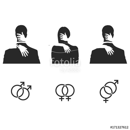 500x500 Silhouettes Of Hugging And Kissing People. Set Of Sexual Gender