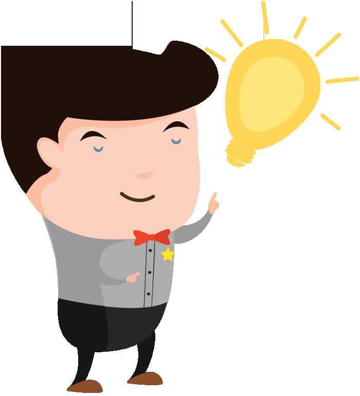 700x770 Cartoon Man With An Idea Light Bulb Over His Head 1designshop