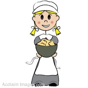 300x300 Clip Art Of A Pilgrim Girl With A Bowl Of Potatoes