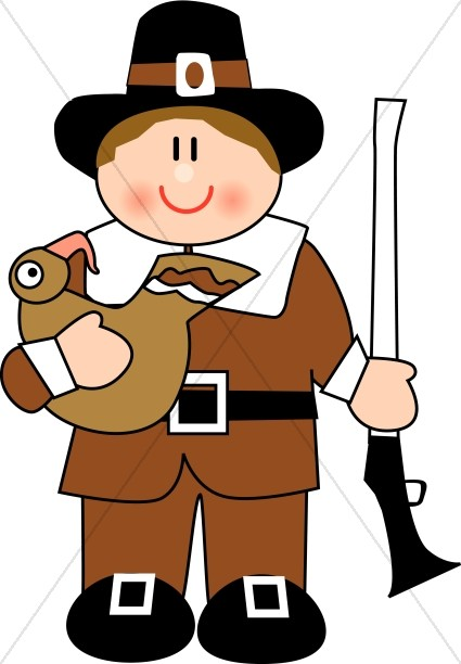 425x612 Cute Pilgrim Man Thanksgiving Clipart