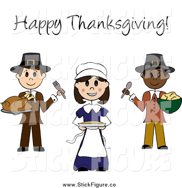 600x620 Clip Art Of Happy Thanksgiving Text Over Stick Pilgrims With Food