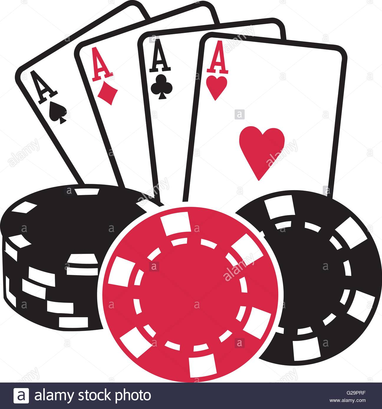 1296x1390 Four Aces Playing Cards With Coins Poker Stock Vector Art