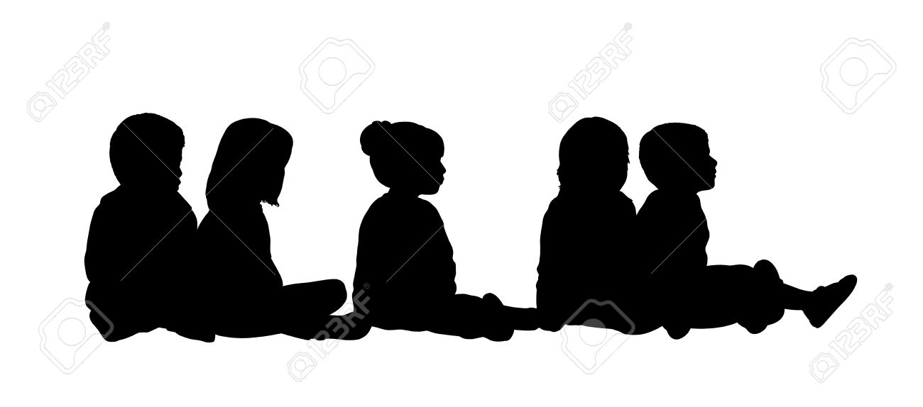 1300x574 Silhouette Of A Group Of Preschool Children Seated In A Row